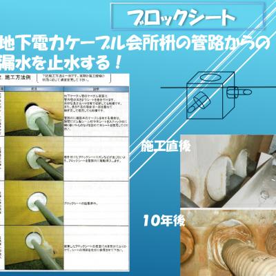 地下電力ケーブル会所内のケーブル挿入口からの漏水をシート化された高吸水性樹脂を巻き付けて、そのシートの吸水・膨潤により完全に止水する!(国交省NETIS登録商品)